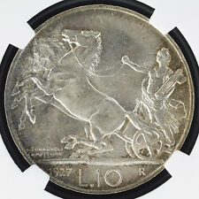 NGC ITALY KINGDOM 1927 R 10 LIRE SILVER COIN KM68.2  UNCIRCULATED  64