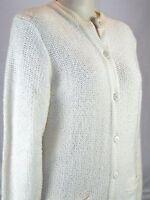 Partners Ivory Cream Button Long Sleeve Sweater Top Womens Size Medium 8 10