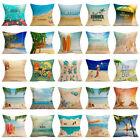 Summer Seaside Beach Sofa Bed Home Decor Flax Square Pillow Case Cushion Cover