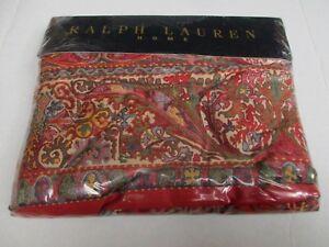 New Rare Ralph Lauren GALAHAD Red Floral Flat Sheet - Full