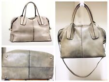 TOD'S D-Styling Grayish Taupe Distressed Leather Shoulder Top Handle Handbag