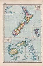 1920 MAP -POST WW1- NEW ZEALAND & FIJI