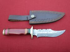 Large Damascus Bowie knife w red bone handle & leather sheath