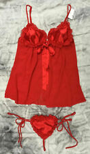 Ex Ann Summers Red Satin Chiffon Queen Of Hearts Baby Doll Set