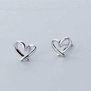 Fashion 925 Silver Cute Heart Earrings Stud Women Trendy Jewelry Wedding Gifts