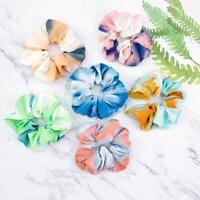 6pcs Rainbow Soft Velvet Scrunchies Tie-dye Hair Ring Rubber Band Hair Rope