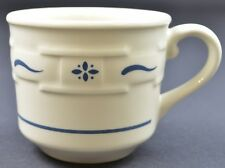 "Longaberger Pottery Woven Traditions Classic Blue Pattern Flat Cup 3"" Teacup Usa"