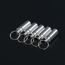 5 Pcs Waterproof Aluminum Pill Box Case Drug Container Holder Keyring TB