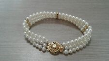 """bracelet 14 k gold , cultured pearl, 4 1/2 mm beads, great condition, 7"""" long"""