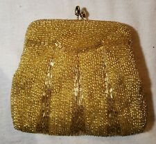 New listing Vintage Small Gold Colored Beaded Purse / Handbag With Handle Strap Attachment