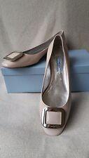 New Prada Rectangle Square Hardware Logo Flat 39.5 Beige Patent Leather Shoes
