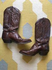 Vintage Hand J CHISHOLM Leather WING TIP COWBOY BOOTS ~ Sz. 9.5 D Wine Brown