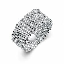 925 Silver Plt Thick Woven Chainmail Mesh Band Ring Wire Chain Wicker Thumb A