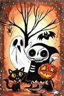"""Halloween Time""  outsider dark art gothic Halloween print signed by Emi Boz"