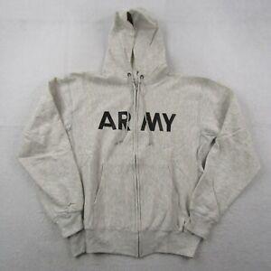 Vintage Champion Army Hoodie Adult Large Men Reverse Weave Gray Sweatshirt