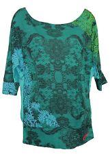 Desigual Gloria Green 34 Sleeve Boat Neck T-shirt Size XS