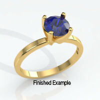 """14kt Gold Classic (4mm -8mm) Round Deep """"V"""" Ring Pre-notched Mounting"""