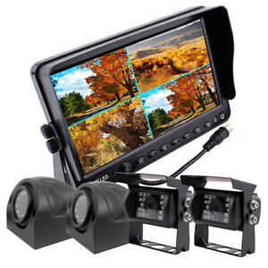 """9"""" Quad Monitor Rear View Security System 4x 4Pin CCD Camera For Truck Bus RV"""
