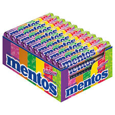 FULL BOX 40ct MENTOS RAINBOW Watermelon Cherry Grape Flavors Chewy Dragees Candy