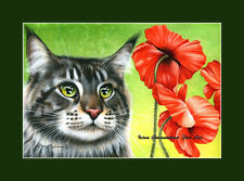 Maine Coon Cat Red Poppies Print by I Garmashova