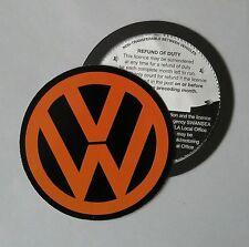 Magnetic Tax disc holder fits any volkswagen vw golf polo passat touran orange m
