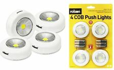 Rolson 4 Piece Ultra Bright COB LED Push Spot Lights Duracell Batteries 20Lumens