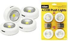 Rolson 4 Pezzi Ultra Bright COB LED PUSH Faretti Duracell Batterie 20 LUMEN