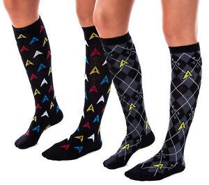Star Trek Womens Repeat Pattern Knee High Argyle and Trexel Badges Socks 2-Pack