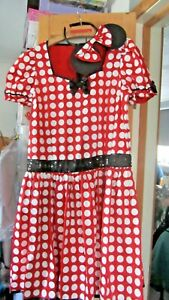 Minnie Mouse Ladies Fancy Dress Costume Party Outfit Adult ears Disney 16-18