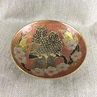 Messing Schale Barn Owls Vintage Emaillierte Eule Vögel Mitte Jahrhundert