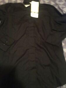 Chef Works Women's Long Sleeve Button Down Black Uniform Shirt Sz S NWT New