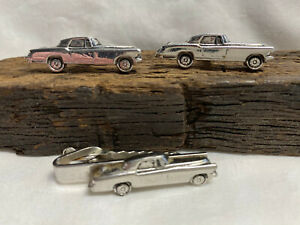 Vtg Car Silver-tone Mustang Classic Automobile Cuff Links and Tie Bar