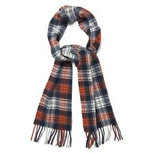 Gant Scarf - Gant Men's Herringbone Check Lambswool Scarf Light Grey Melange