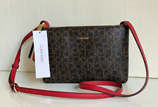 NEW! CALVIN KLEIN CK BROWN RED DOUBLE ZIP CROSSBODY SLING BAG PURSE $148 SALE