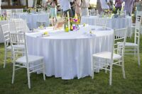 "12 Round 120"" Inch White Polyester Tablecloths 5' ft Table Cover Quality SALE"