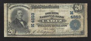 """Cadiz, Ohio #M4853 $20.00 1902 Plain Back, """"Fourth National Bank"""", Fine, 8 Large"""