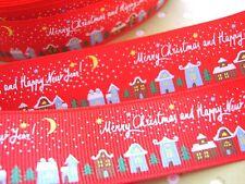 "1M x Merry Christmas Printed GROSGRAIN RIBBON, Craft, Bow,Cake 25MM (1"") *UK*"