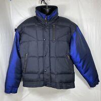Vintage Mountain Goat Mens Medium Winter Jacket Black Puffer Coat Snap Buttons