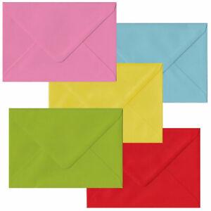 Economy Pack 50 Multi Coloured C6 Envelopes. Multi Colour A6 Gummed Envelopes