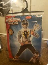 Power Rangers Super Megaforce 10-12 Large Silver Ranger Muscle kids Costume New