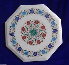 "12"" Marble Side Coffee Table Mosaic Inlay Handmade Home Decor Art"