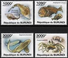 MARINE LIFE Fish/Guitarfish/Fangtooth/Zebra Shark/Crab Stamp Set (2011 Burundi)