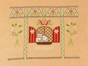Finished Cross Stitch Cat in Window Pane on Tan Background Very Well Done SWEET