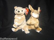 2 Lot - Beanie Babies - Almond & Nibbly- Bear & Bunny - Mwmt - Tag Protected