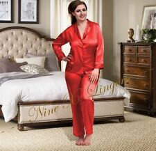 Nine X Womens Plus Size Lingerie S-6xl Satin Pyjamas Long Sleeve Nightwear Pj's 14 Red