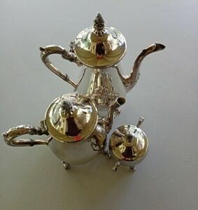 Vintage Silver Plated Tea Pot Coffee Pot and Sugar Bowl Viners Victorian Style