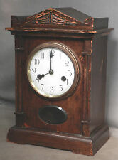 Antique HAC Germany Carved Wooden Mantel Bracket Clock Temple Hamburg Amerikan