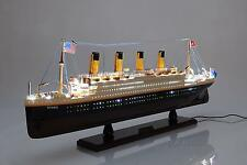 "Handcrafted TITANIC Wooden Ship Model With LIGHTS 32"" Long"