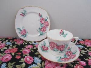 Vintage Colclough TRIO Tea Cup Saucer Plate Set Pink & Green