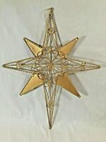 """Gold Metal Twisted Wire Christmas Tree Ornament Tree Topper 13.5""""H 3 Dimensional"""
